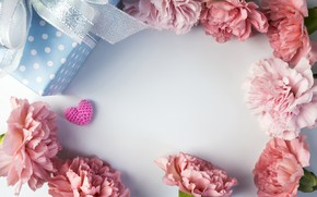 Picture flowers, gift, hearts, love, pink, pink, flowers, beautiful, romantic, hearts, gift, clove, carnation