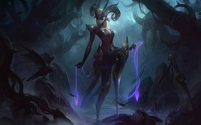 Picture dark, sword, fantasy, game, magic, horns, armor, weapon, League of Legends, digital art, artwork, warrior, …