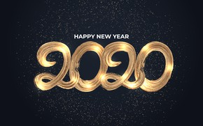 Picture New year, golden, black background, happy, black, background, New Year, decoration, 2020