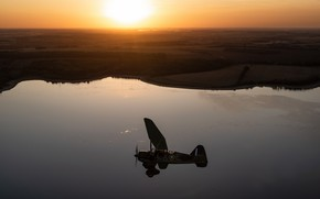 Picture Sunset, The plane, Lake, RAF, The Second World War, Westland Lysander, The plane of interaction …