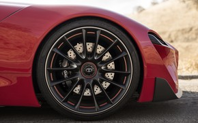 Picture red, coupe, wheel, Toyota, body, 2014, FT-1 Concept
