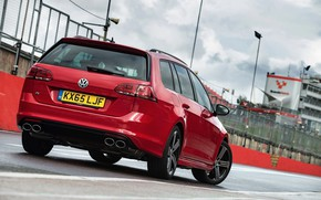 Picture red, Volkswagen, rear view, universal, 2015, Golf R Estate