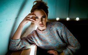 Picture look, girl, pose, hand, portrait, sweater, Carla Sonre, Damian Feather