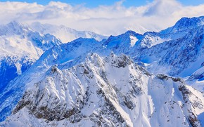 Picture winter, the sky, clouds, snow, mountains, sky, landscape, nature, cloud, winter, mountain, snow, morning