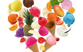 Picture cherry, kiwi, strawberry, ice cream, fruit, pineapple, banana, peach, chocolate, ice cream