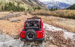 Picture water, red, rear view, 2018, Jeep, Wrangler Rubicon, departure to the shore