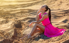 Picture the sun, sexy, pose, model, portrait, makeup, dress, hairstyle, brown hair, legs, beauty, sitting, on …
