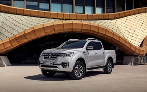 Picture the building, Parking, Renault, pickup, 4x4, 2017, Alaskan, gray-silver