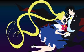 Picture girl, romance, pair, guy, two, black background, Sailor Moon
