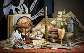 Picture card, ship, books, tube, shell, coins, still life, compass, spyglass, globe, Cup, scrolls, pirate flag