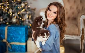 Picture dogs, face, smile, mood, model, puppies, New year, husky, Natalia Naidenko, Mozhayskiy Julia (Julia Catarina)