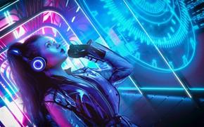 Wallpaper Girl, Music, Neon, Background, Neon, Cyber, Cyberpunk, Synth, Retrowave, Synthwave, New Retro Wave, Futuresynth, Sintav, ...