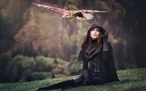 Picture forest, grass, look, girl, flight, mountains, nature, background, bird, feet, glade, wings, slope, beauty, hood, …