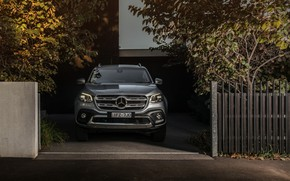 Picture the fence, Mercedes-Benz, shadow, front view, pickup, 2018, X-Class, gray-silver