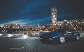 Picture Auto, Night, Blue, The city, Machine, Ferrari, Supercar, Sports car, Gran Turismo, Ferrari GTO, Ferrari …