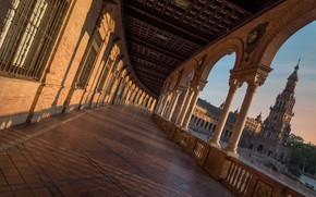 Picture tower, gallery, columns, Spain, Spain, Seville, Plaza of Spain, Seville, Espana