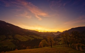 Picture field, autumn, forest, the sky, clouds, light, trees, landscape, sunset, mountains, hills, the slopes, tops, ...