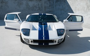 Picture White, Supercar, The front, American car, Blue stripes, 2005 Ford GT