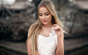 Picture pose, background, model, portrait, makeup, dress, hairstyle, blonde, beauty, is, in white, bokeh, Mary Jane, …
