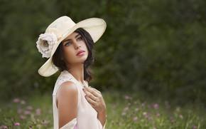 Picture look, girl, nature, hat, makeup, dress, brunette, manicure