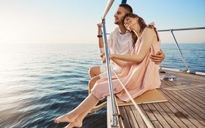 Picture sea, water, girl, happiness, smile, hugs, boat, guy, lovers, beautiful