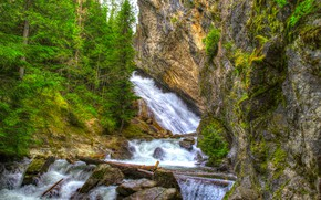 Picture stones, waterfall, trees, Washington, Spokane, forest, HDR, rocks, Granite Falls, USA