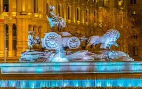 Picture Spain, fountain, the building, sculpture, tree, the evening, Cibeles Fountain, Madrid
