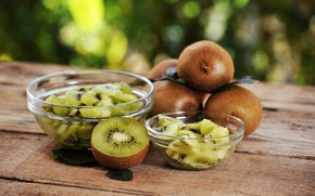 Picture table, background, Board, kiwi, pieces, fruit, bokeh, vases