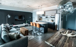 Picture interior, kitchen, living room, dining room, by LUX Design, Industrial Condo Loft