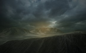Picture clouds, rays, rays, clouds, mountains, CC Firefight 1985, alien, fog, ue4, Unreal engine 4, fog, …