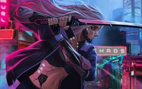 Picture The city, Robot, Style, Sword, Fantasy, Art, Art, Robot, Fiction, Katana, Katana, Sword, Cyberpunk, Cyber, …