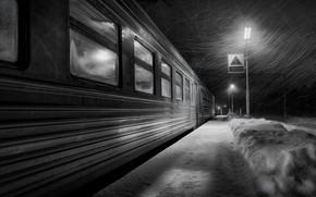 Picture winter, station, morning, the car, train, Blizzard