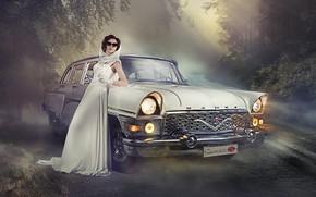 Picture road, auto, girl, pose, Seagull, dress, glasses