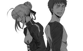 Picture girl, guy, the saber, Shirou Emiya, Fate stay night, Fate / Stay Night