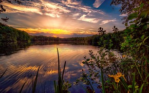 Picture the sky, the sun, clouds, sunset, lake, reflection