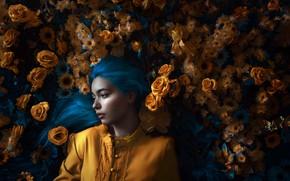 Picture look, girl, light, flowers, hair, roses, Adi Dekel