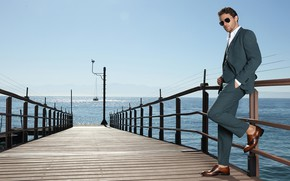 Picture style, Knight Block, kastyum, sea, male, pier, glasses