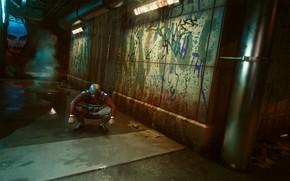 Picture The tunnel, Cyberpunk 2077, Yard, Cyberpunk 2077, Gopnik, Bully, Night city 2077