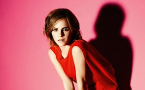 Picture look, girl, light, pose, background, red, shadow, makeup, dress, actress, beauty, Emma Watson