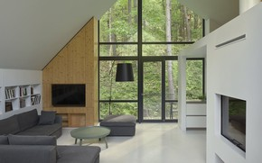 Picture room, interior, living room, Lithuania, by Inblum Architects, House in the Forest, near Vilnius, недалеко …