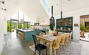 Picture interior, kitchen, dining area, Ojai Farmhouse