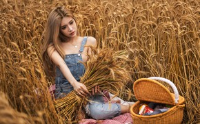 Picture girl, Model, field, photo, barefoot, lips, blonde, asian, wheat, basket, picnic, sitting, necklace, portrait, feet, …