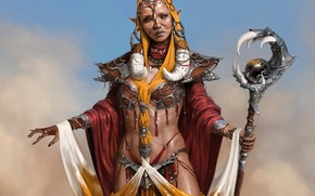 Picture the sky, woman, staff, apparel, shaman