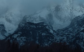 Picture winter, forest, snow, trees, mountains, nature, rocks, twilight