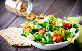 Picture leaves, cheese, plate, vegetables, tomatoes, salad