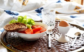Picture egg, Breakfast, morning, bread, tomatoes