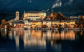 Picture lake, building, home, Italy, Italy, Piedmont, Piedmont, Lake Orta, Александр Безмолитвенный, Озеро Орта, San Giulio …