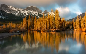 Picture forest, clouds, light, mountains, lake, reflection, rocks, shore, the slopes, tops, lighting, Canada, Albert, pond, …
