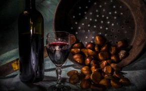 Picture wine, food, chestnuts