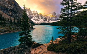 Picture trees, mountains, lake, ate, Canada, Albert, Banff National Park, Alberta, Canada, Moraine Lake, Valley of …